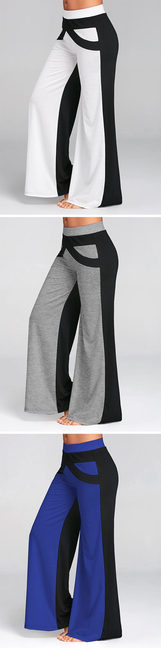 Casual wide leg pants features white and black panel design  - Loose silhouette - Mid waist#pants#womenoutfit