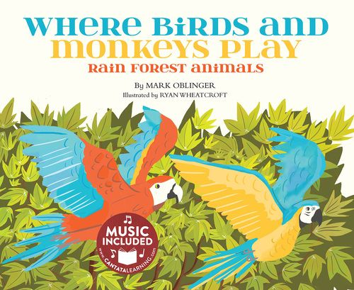 Did you know many some rain forest animals have yet to be discovered? Or that some butterfly wings look like a pair of eyes? Find out how animals survive in the rainforest while singing and reading along! Readers will love the wordly music and colorful illustrations.#lifescience #nextgenerationsciencestandards #habitat #prey #predator #camouflage #rainforest #monkey #sloth #snake #frog #jaguar #salamander #crocodile #toucan #cantatalearning