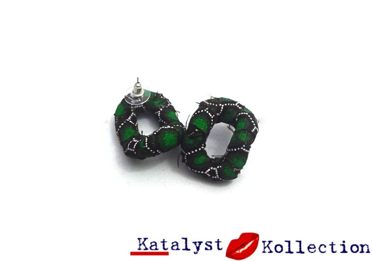 #Handcrafted, Green, small-sized, stud earrings, wrapped with strips of Shweshwe African Print Fabric. The square-shaped earrings are super lightweight and come in an assortment of Blue, Green, Yellow, Purple, Red, and Brown Colours.Each colour of Shweshwe African Print Fabric accessories include: Small Stud Earrings