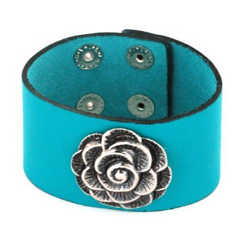 Turquoise Color Leather Wristband Bracelet with Rose Centerpiece - 1.5'' Width, 7 to 8'' Adjustable Length Bracelets - Leather. $27.95