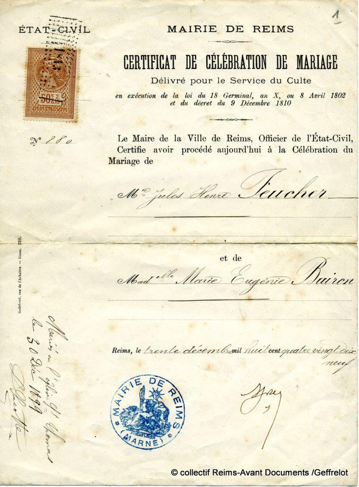 Certificat de Célébration de Mariage délivré en 1899. Accessoires pour réussir votre mariage sur http://yesidomariage.com