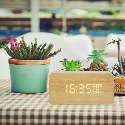 HEPHEASデジタル置き時計 LED 木目調 大音量 アラーム カレンダー付 温度湿度表示 音声感知 USB給電 木目調: HEPHEASデジタル置き時計 LED 木目調 大音量 アラーム カレンダー付 温度湿度表示 音声感...