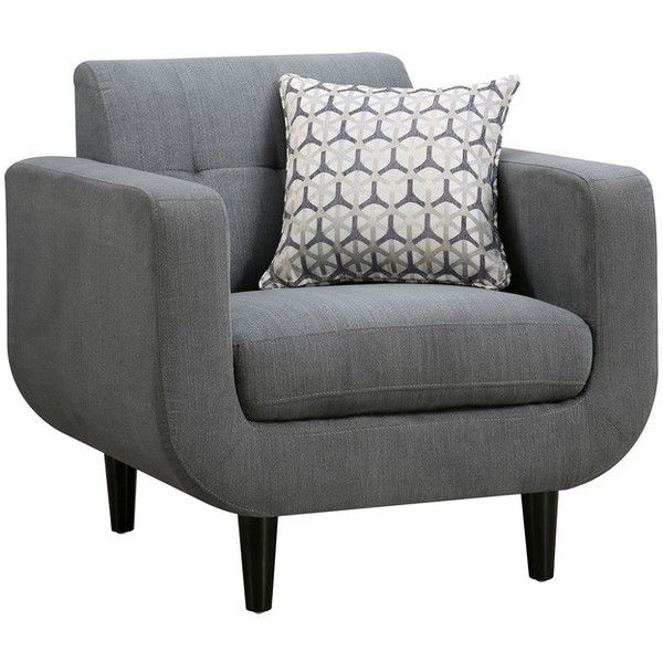 Stansall Modern Chair, Gray - Midcentury - Armchairs And Accent Chairs... ❤ liked on Polyvore featuring home, furniture, chairs, accent chairs, grey arm chair, grey occasional chair, gray armchair, grey accent chair and gray chair