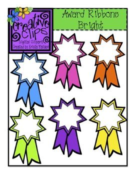 Free Award Ribbon Clipart! Perfect for celebrating your students' success or the end of state testing! Personal or commercial use- black line version included :)