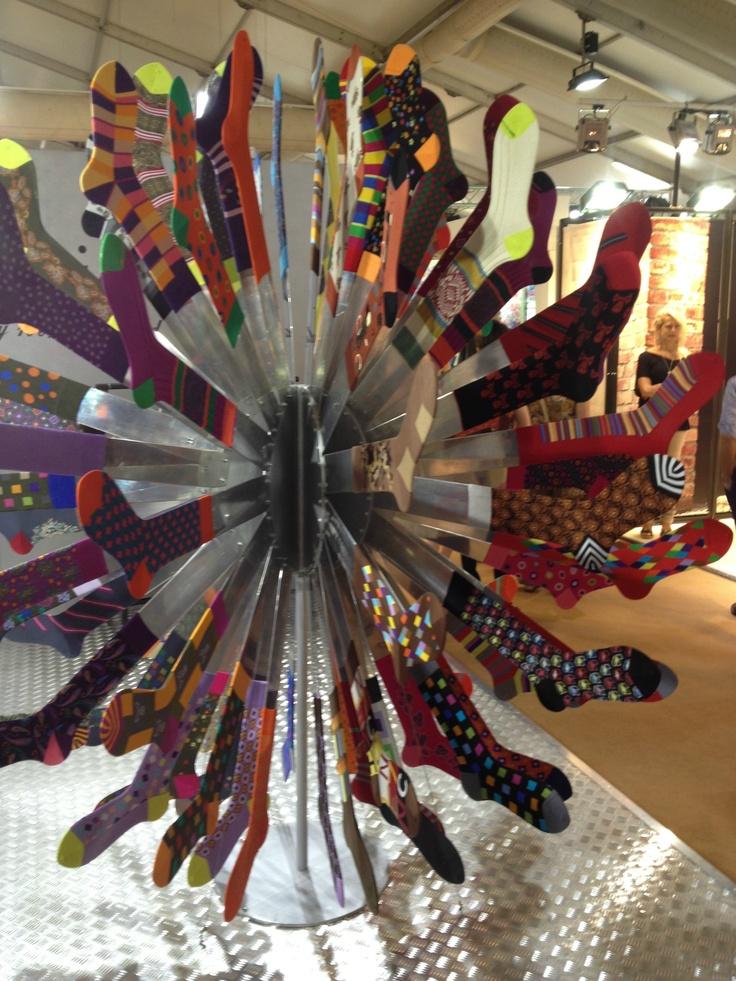 A cool way to display socks, at Pitti Uomo SS14.