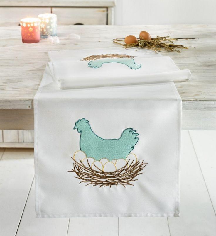 in trendiger Farbkombination, aufwändig gestaltetes Hühnermotiv auf weißem Grundstoff, 100% Polyester