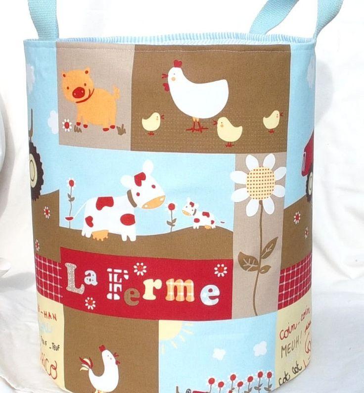 """BAC à jouets pour enfant, grand SAC à linge, Panier de rangement en coton """"La ferme"""" de la boutique paquita14400 sur Etsy"""