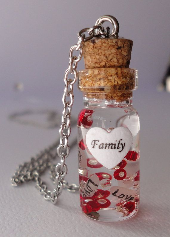 unique idea! glass bottle necklace name on rice necklace by michellejewelry, $22.50