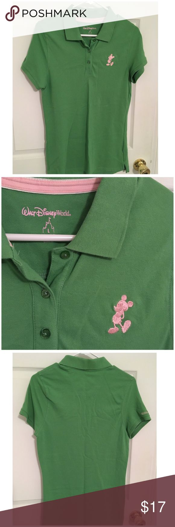 Ladies Mickey Mouse Disney Polo Large Lime color with pastel pink embroidery of Mickey. Disney Tops