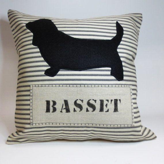 Basset Hound Felt Pillow  Decorative throw by ecarlateboutique, $27.00
