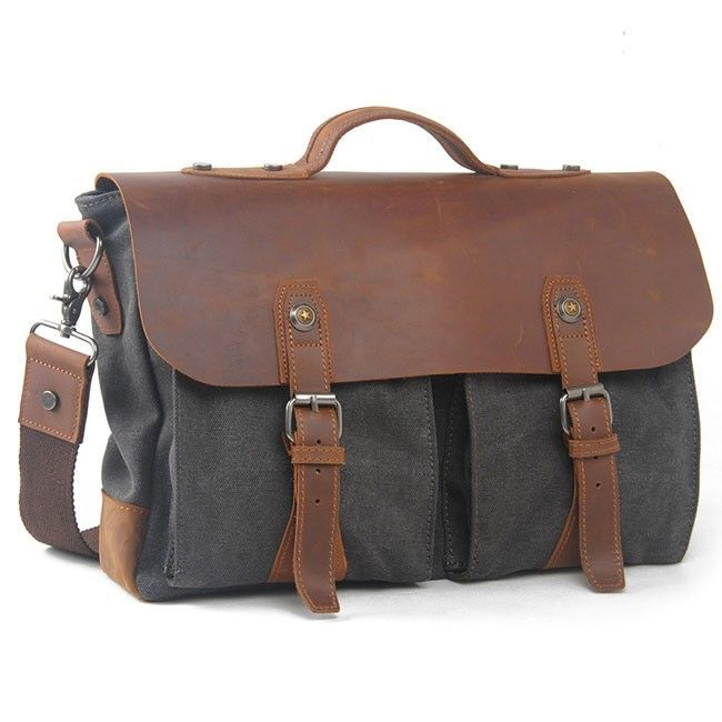 How nice Vintage Real Leather Flap Handbag Leisure Large Thick Canvas Splicing Laptop Shoulder Bag ! I like it ! I want to get it ASAP!