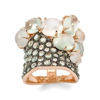 Ross-Simons - Green Sapphire, Prehnite, and Moonstone Ring In 18kt Rose Gold - Jewelry, Rings, Clearance :  prehnites ring jewelry sapphires