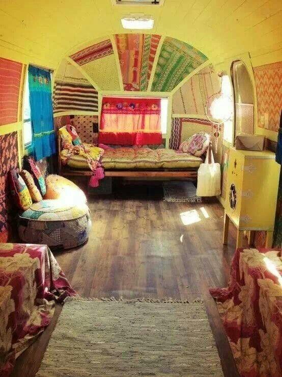 Inside of a huge hippy van. Inspiration