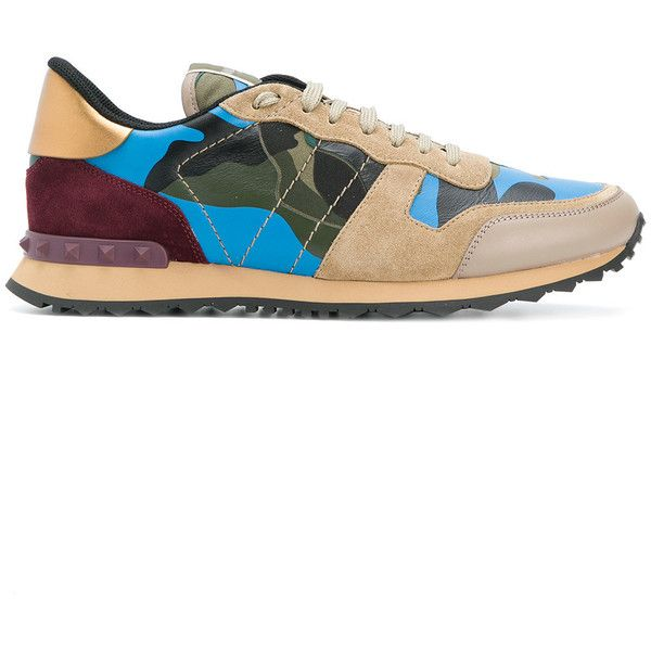 Valentino Rockrunner Leather Sneaker ($760) ❤ liked on Polyvore featuring men's fashion, men's shoes, men's sneakers, green, mens round toe dress shoes, mens leather shoes, mens green leather dress shoes, mens leather sneakers and valentino mens sneakers