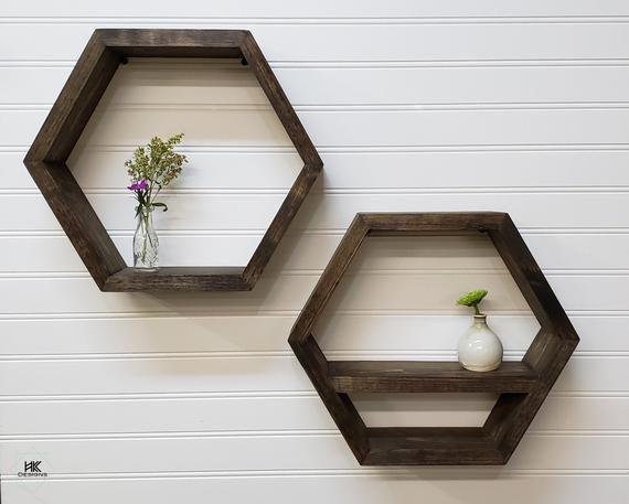 Hexagon Wood Wall Shelf Honeycomb Home Decor