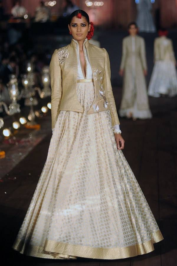 a creation by designer Rohit Bal on Day 5 of Wills Lifestyle India Fashion Week (WIFW) Spring-Summer (SS) 2015, held in Delhi, on October 12, 2014.(BCCL/Samik Sen) See more of : WIFW '15: Day 5: Rohit Bal