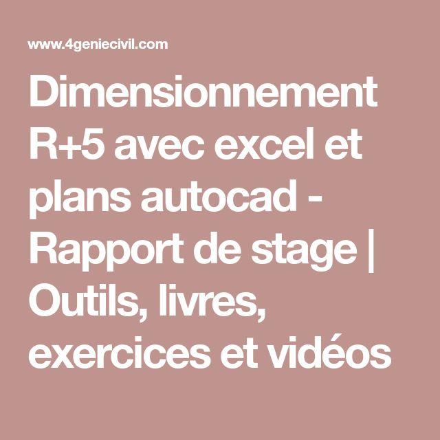 Dimensionnement R+5 avec excel et plans autocad - Rapport de stage | Outils, livres, exercices et vidéos