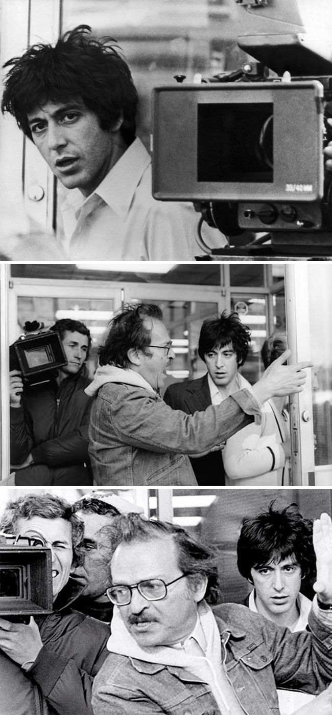 "Al Pacino as ""Sonny"" and director Sidney Lumet on location for Dog Day Afternoon (1975)"