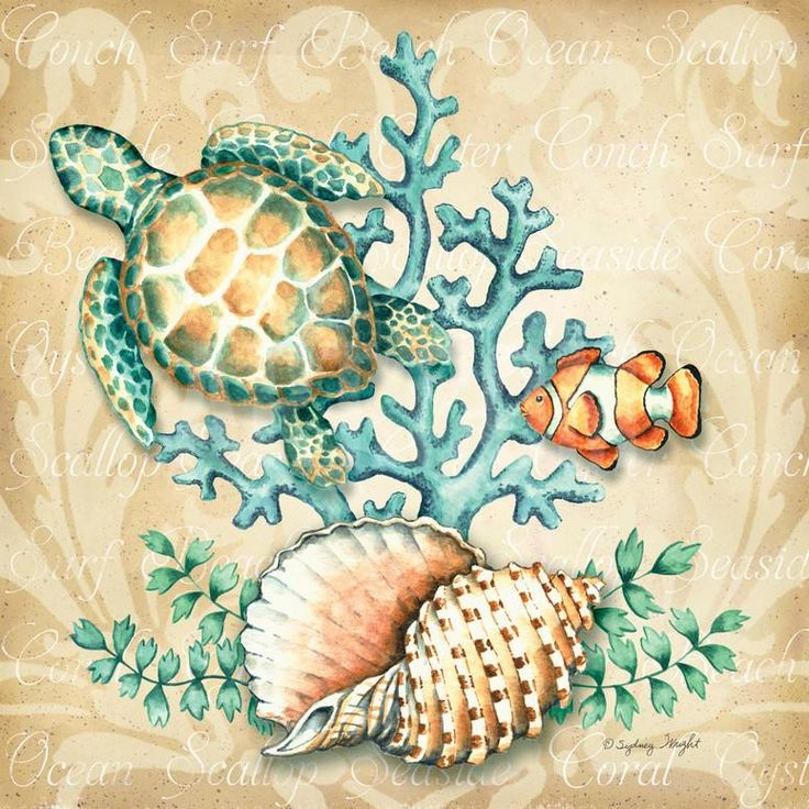 Sea Life I Art Print by Sydney Wright at Art.com