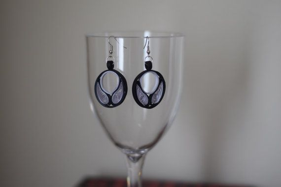 Black Grey Paper Quilling Earrings Quilled Paper by FunWithPearl