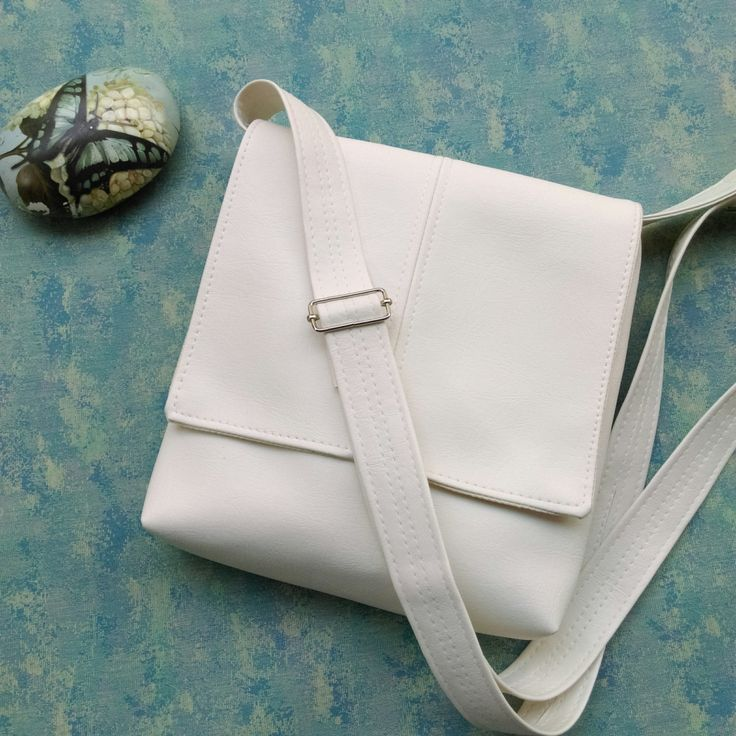 Coconut White faux leather vegan messenger cross body crossbody shoulder  bag by CaptureHandmadeBags on Etsy