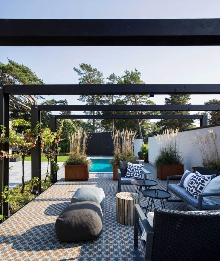 Plants help separate the pool and eating area in the backyard without obstructive fencing | Villa J designed by Johan Sundberg