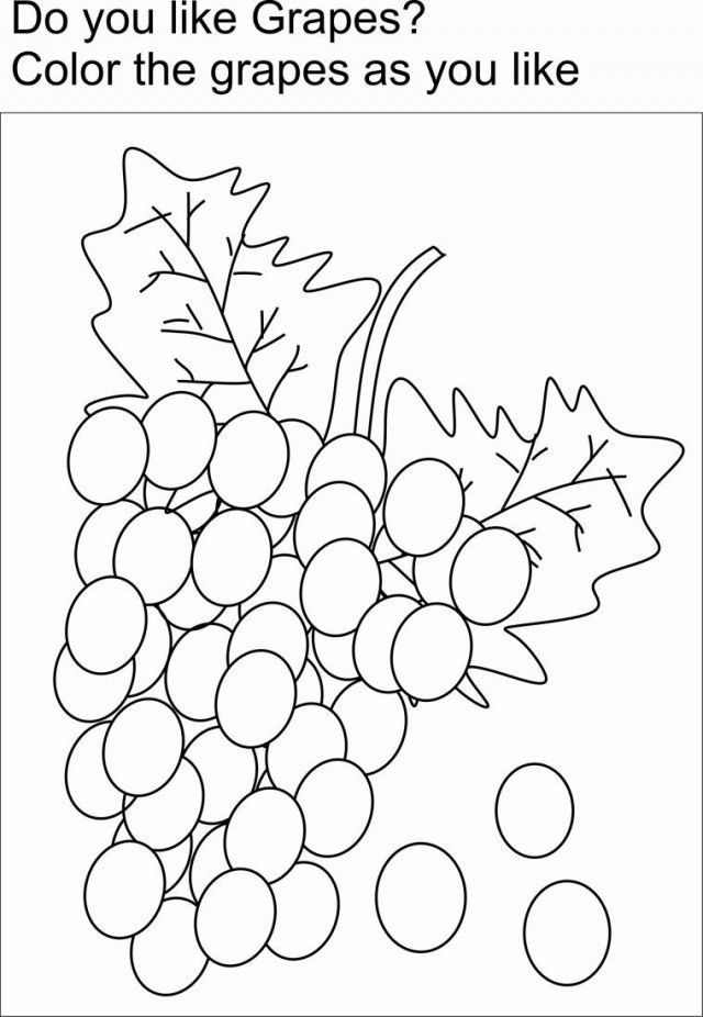 Grapes Coloring Printable Page For Kids Fruits And