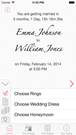 Home - iWedding Deluxe v2.0 - iOS 7 wedding planner