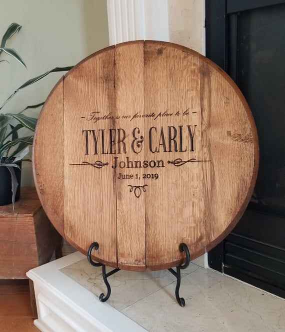 Bourbon Barrel Head Personalized Wedding Guest Book For Bride And Groom In 2020 Personalized Wedding Guest Book Personalized Wedding Wedding Guest Book