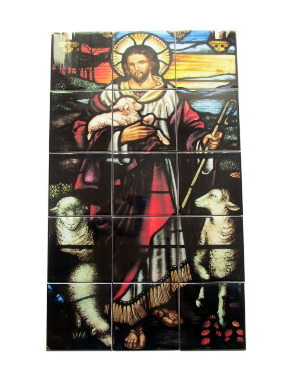 #Jesus the Good #Shepherd #tileart  #mosaic #handmade in Italy by TerryTiles2014. Suitable for indoor and outdoor. Ready to hang. Composed by 15 ceramic tiles. A perfect #catholic gift ideas - #religious art. Now available on #Etsy.