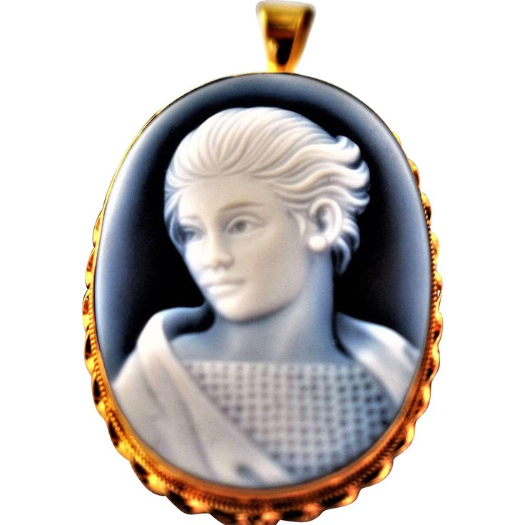 Hand Carved Vintage Genuine Blue Agate Cameo Pendant Vintage Portrait Estate Jewelry Vintage 18K Gold Agate Cameo Blue Agate Portrait Cameo Blue White Unique Cameo 1950s Jewelry