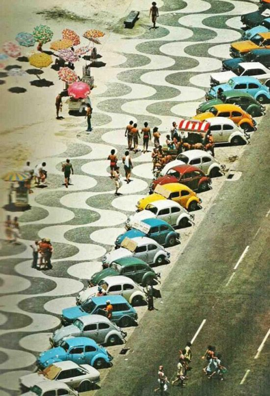Vintage car parking lot: At The Beaches, Punch Buggy, Old Schools, 1970, Vw Beetles, Vw Bugs, Color, Rio De Janeiro, Riodejaneiro