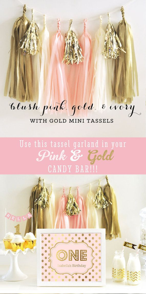 free bridal shower printable banner%0A    Pink and Gold Tassel Garland  Pink and Gold Backdrop  Bridal Shower  Decor