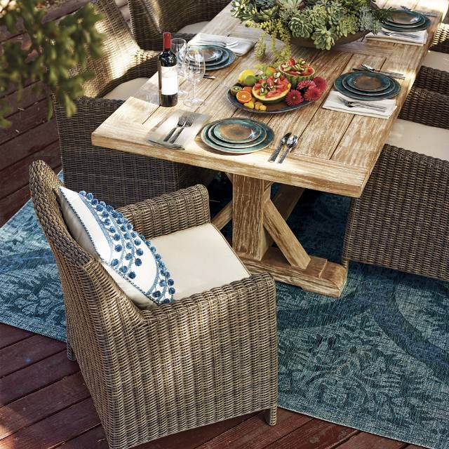 Hyde Park Dining In Ocean Grey Finish Frontgate Outdoor Wicker Furniture Outdoor Furniture Collections Wicker Patio Furniture