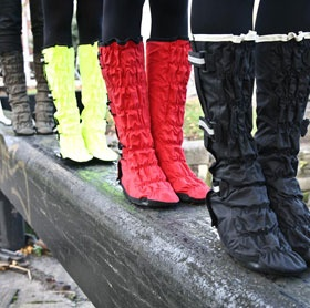 Leggits - waterproof overshoes for flats or heels, with reflective straps for biking