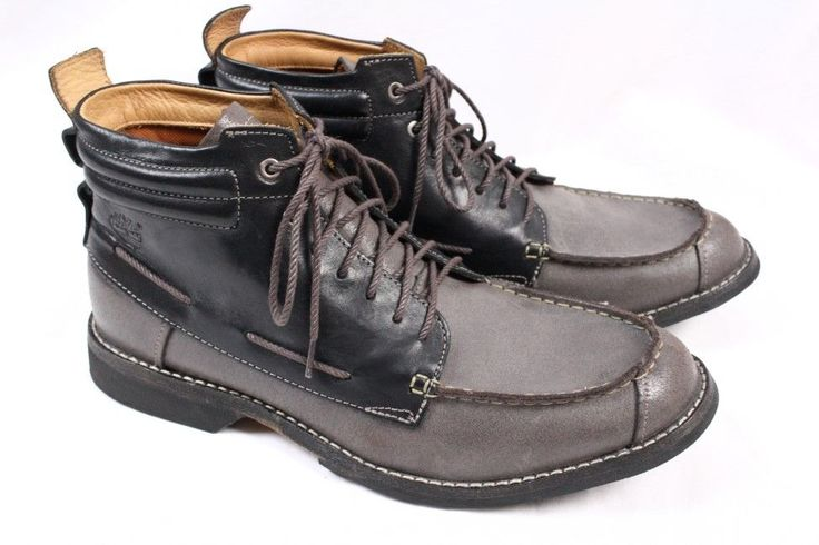 TIMBERLAND Earthkeepers Black Grey Leather Moc Toe City Chukka Ankle Boots Men 8 #Timberland #AnkleBoots