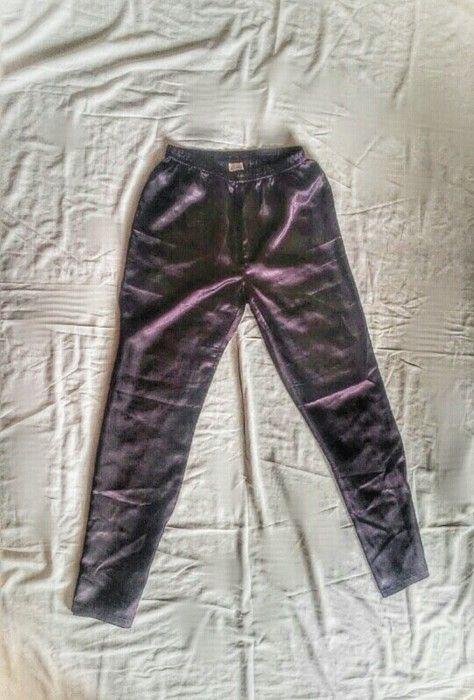 Sliskie lejace spodnie od pizamy burgundowe/ciemno fioletowe