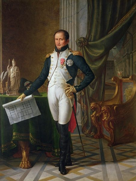 Portrait of Joseph Bonaparte as King of Naples, ca 1809 – Painting by Jean-Baptiste Wicar (1762–1834). Joseph-Napoleon Bonaparte (1768 –1844) was the elder brother of Napoleon Bonaparte, who made him King of Naples & Sicily (1806–1808), & later King of Spain (1808–1813, as José I). After the fall of Napoleon, Joseph styled himself Comte de Survilliers.