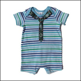 Lohla - Clothes - Blue, Green & White Onesie with Tie - R80