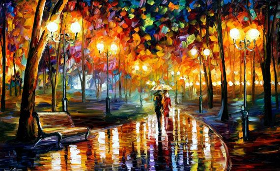 "Rain's  Rustle — PALETTE KNIFE Oil Painting On Canvas By Leonid Afremov - Size: 24"" x 40"" (60cm x 100cm) on Etsy, $319.00"
