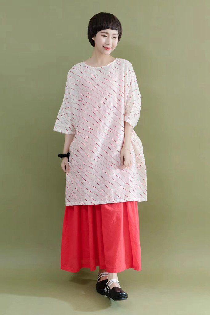 04b7e67e13a5 FantasyLinen Summer Silk Linen Shirt Red Line White Stylish Casual Loose  Fitting Dresses For Women