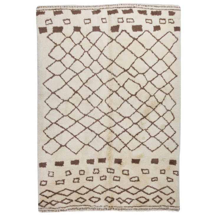 Moroccan Rug Made of Natural Brown and Cream Wool