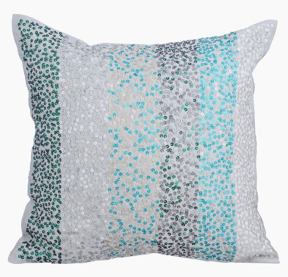 Aromatherapy - 16 x 16 Sequins Embroidered Light Grey Silk Throw Pillow.