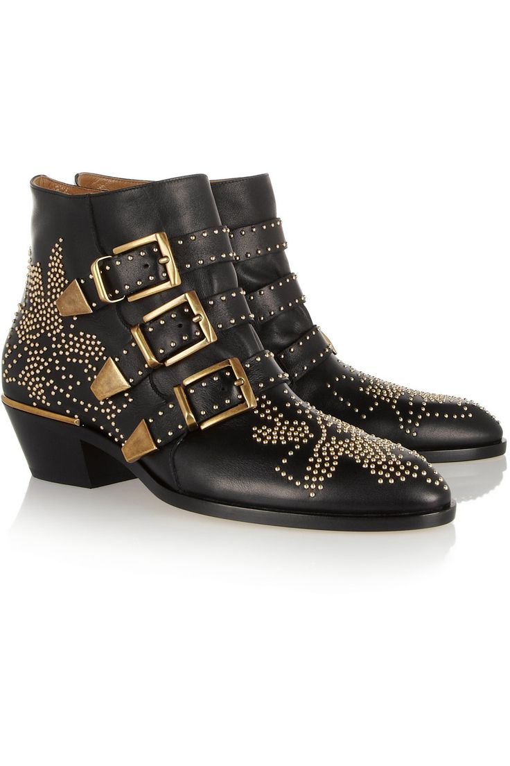 Chloé | Susanna studded leather ankle boots  | NET-A-PORTER.COM Heel measures approximately 40mm/ 1.5 inches. Chloé's 'Susanna' boots are one of the label's most sought-after designs. This black leather pair is decorated with gleaming gold studs and buckled straps. Take your cue from the style set and team them with skinny jeans.