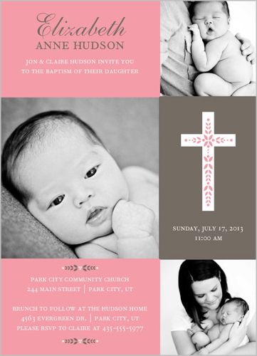 Cross Of Girl Baptism Invitation