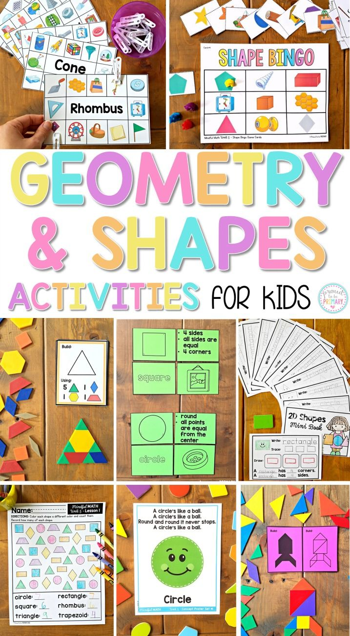 Geometry & fractions unit with 10 lessons to teach the concepts related to geometry and fractions (2D shapes, 3D solids, composite shapes, attributes, sorting, symmetry, positional language, and writing/reading basic fractions). Tons of hands-on activities using geoboards, tangrams, pattern blocks, and more to build recognition and math fluency in first grade.