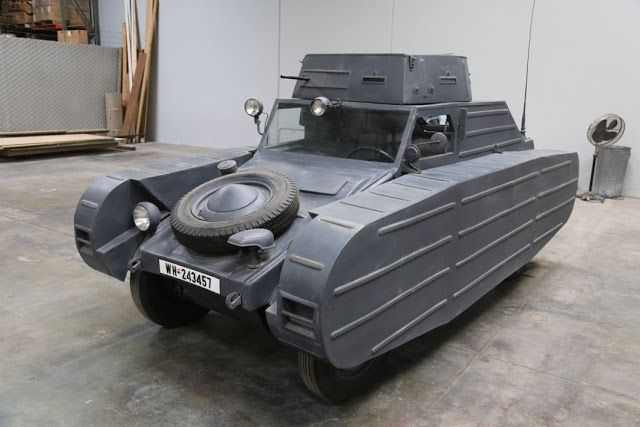 The Kübelwagen Type 82 looks a lot like the much later Volkswagen Type 181 Thing, but it was developed by Ferdinand Porsche and build by Volkswagen using parts from the Type 1 Beetle at the request of Adolf Hilter way back in 1938.  The 82/3 version added a crazy faux armored vehicle look and a light machine gun turret with swively chair.