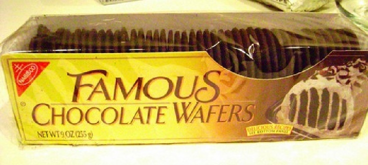 """Here are the hard-to-find Nabisco Famous Chocolate Wafers that make """"Icebox Zebra Cake"""" possible (only other ingredient, whipped cream... mmm...)"""