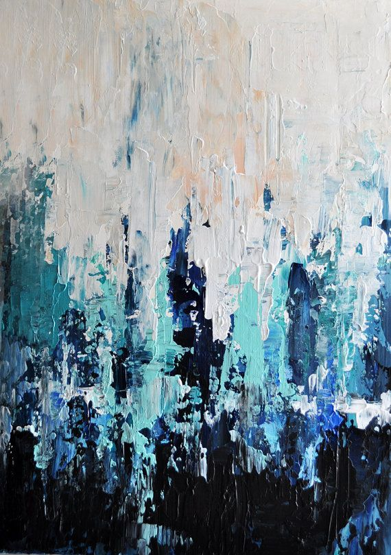 Original textured abstract painting - Impasto Seascape, Dark blue, aqua, black 15x18 Inch
