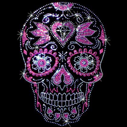 9x13 - pembe kalpler Ölü Şeker Kafatası (Çıtçıt) günü - Ölü, damızlık Günü, şeker kafatası, Latin, Materyal Transfer, Kafatasları